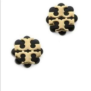 Tory Burch Black/gold resin flower earrings NWT!!!